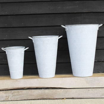 Three Zinc Bucket Planters