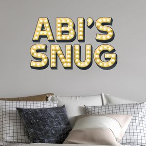 Personalised Light Up Letters Effect Wall Sticker - bedroom