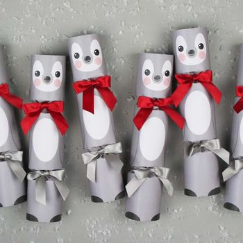 Six Luxury Penguin Christmas Crackers