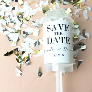Wedding Save The Date Confetti Push Pop - save the date cards