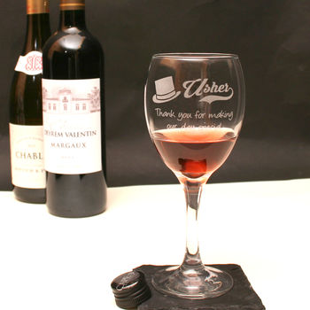 Personalised Usher Wine Glass In Gift Box