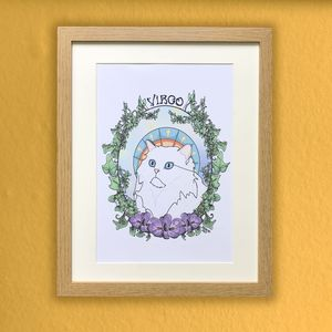 Virgo Cat Star Sign Zodiac Print - drawings & illustrations