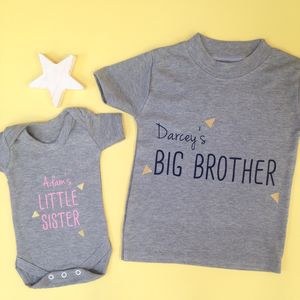 Brother And Sister Baby Grow And T Shirt Set - personalised