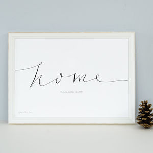 Personalised 'Home' Art Print