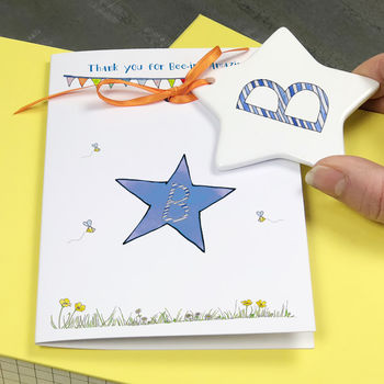 Card With Personalised Stripy Letter Decoration