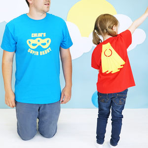 Personalised Daddy And Me Super Hero Tshirt Set - baby & child sale