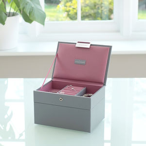 Dove Grey With Rose Mini Jewellery Box - boxes, trunks & crates