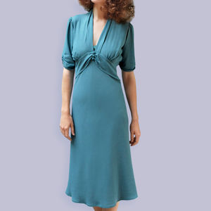 1940s Style Crepe Dress In Tiffany Blue