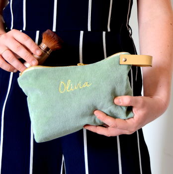 Personalised Corduroy Make Up Bag