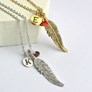 Personalised Feather Charm Necklace