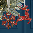 Set Of Two Handmade Christmas Red Hanging Decorations