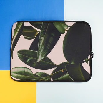 Laptop Sleeve With Green Leaves, More Colours