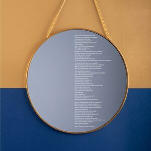 Engraved Framed Round Mirror With Song Lyrics / Poem