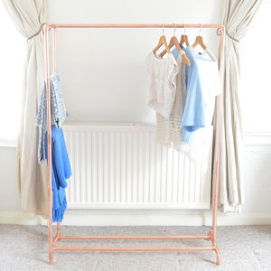 Copper Pipe Clothing Rail With Display Ladder - storage