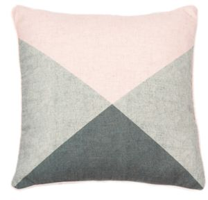 Pastel Pink And Grey Graphic Cushion - bedroom