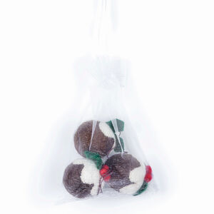 Handmade Brown Christmas Puddings Set Of Three In A Bag