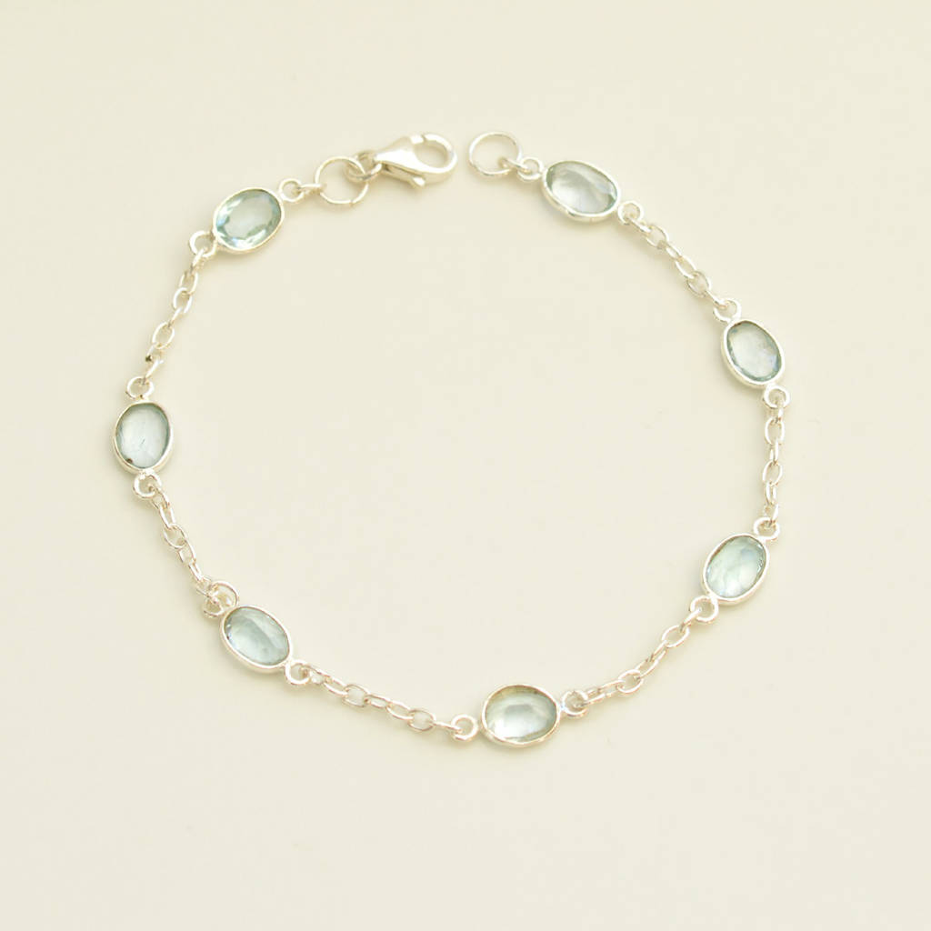 Silver And Blue Topaz Bracelet By Tigerlily Jewellery