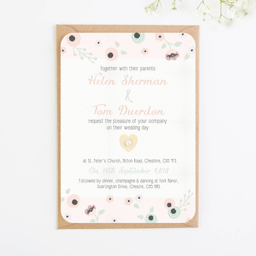 wooden pastel floral wedding invitation bundle by normadorothy