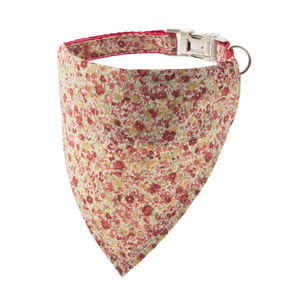 Vintage Red Floral Bandana Dog Collar