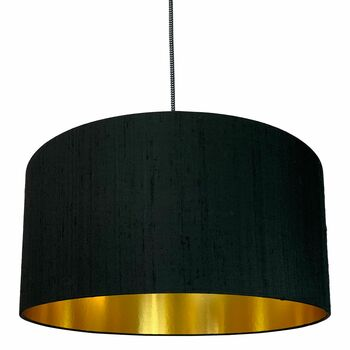 Black Silk Lampshade With Gold Lining
