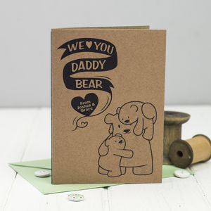 Personalised Daddy Bear Birthday Card - father's day cards