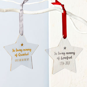 In Loving Memory Foiled Star Decoration - christmas sale