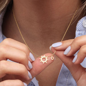Personalised 18ct Gold Vermeil Sun And Star Necklace
