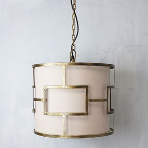 Gold Framed Linen Pendant - lighting