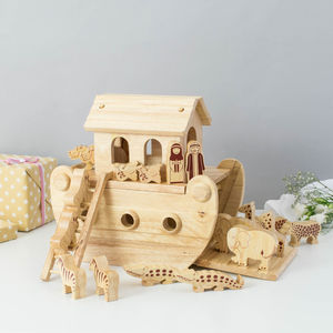 Junior Natural Wood Noah's Ark Playset + 18 Characters - christening gifts