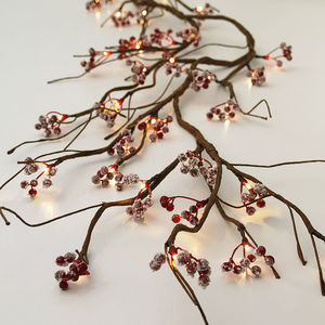 Faux Red Berries LED Garland - christmas sale