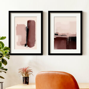Pink Minimalist Abstract Wall Art Prints Set Of Two