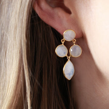 18ct Gold Vermeil Moonstone Four Drop Earrings