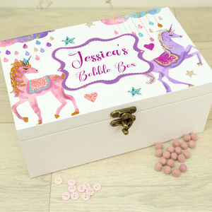 Personalised White Wooden Hair Bobble Box