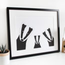 Badger Family Selfie, Personalised Print