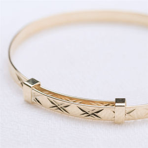9ct Solid Gold Christening Bangle - bracelets
