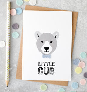 Little Cub New Baby Boy Card With Felt Bow Tie