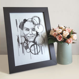 Personalised Rain Drops Contemporary Portrait Print - modern & abstract