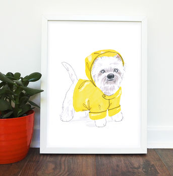 Westie Dog Print Framed No Mount