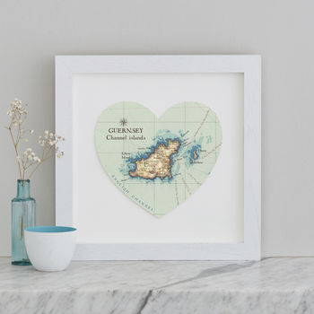 Personalised Location Guernsey Map Heart Print