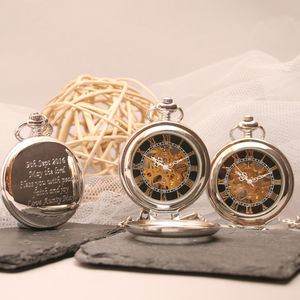 Personalised Pocket Watch With Standing Lid