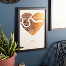 Copper on sand Metallic Heart Map Print