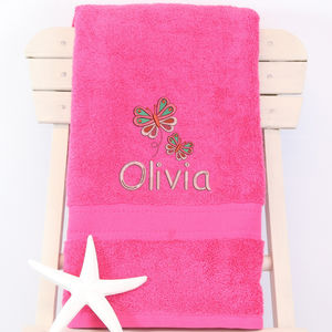 Girl's Personalised Butterfly Bath Towel
