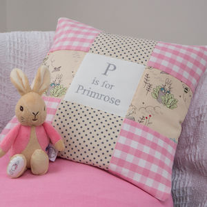 Peter Rabbit© Alphabet Cushion Gingham - personalised cushions
