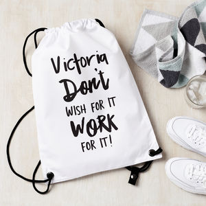 Personalised Work For It Gym Kit Bag - bags