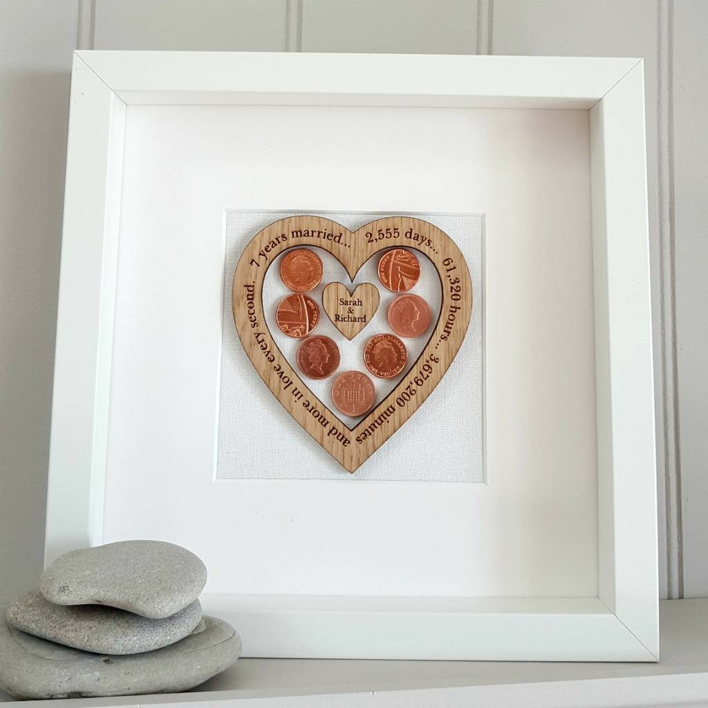 7th Wedding Anniversary.Copper 7th Wedding Anniversary Personalised Oak Heart