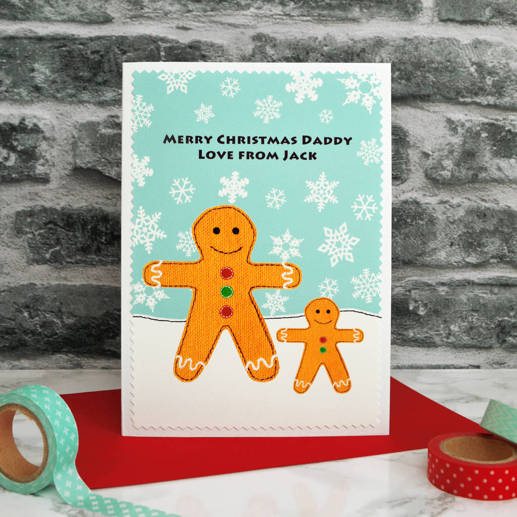 'gingerbread' Christmas Card For Daddy / Grandpa / Dad By
