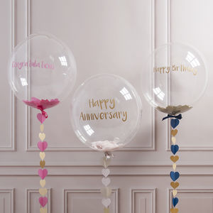 Personalised Heart Confetti Bubble Balloon - decoration