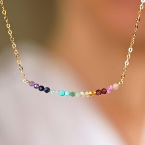 Rainbow Real Gemstone Necklace