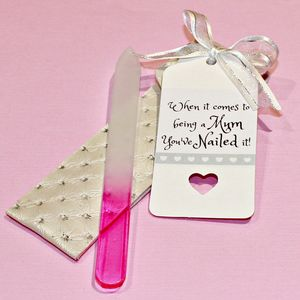 Gift For A Mum Glass Nail File In Handmade Pouch