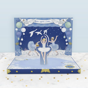 Winter Swan Lake Music Box Card - christmas cards